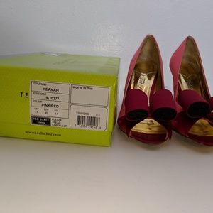 Shoes - Pink and Red Satin Ted Baker Pumps - sz 8.5